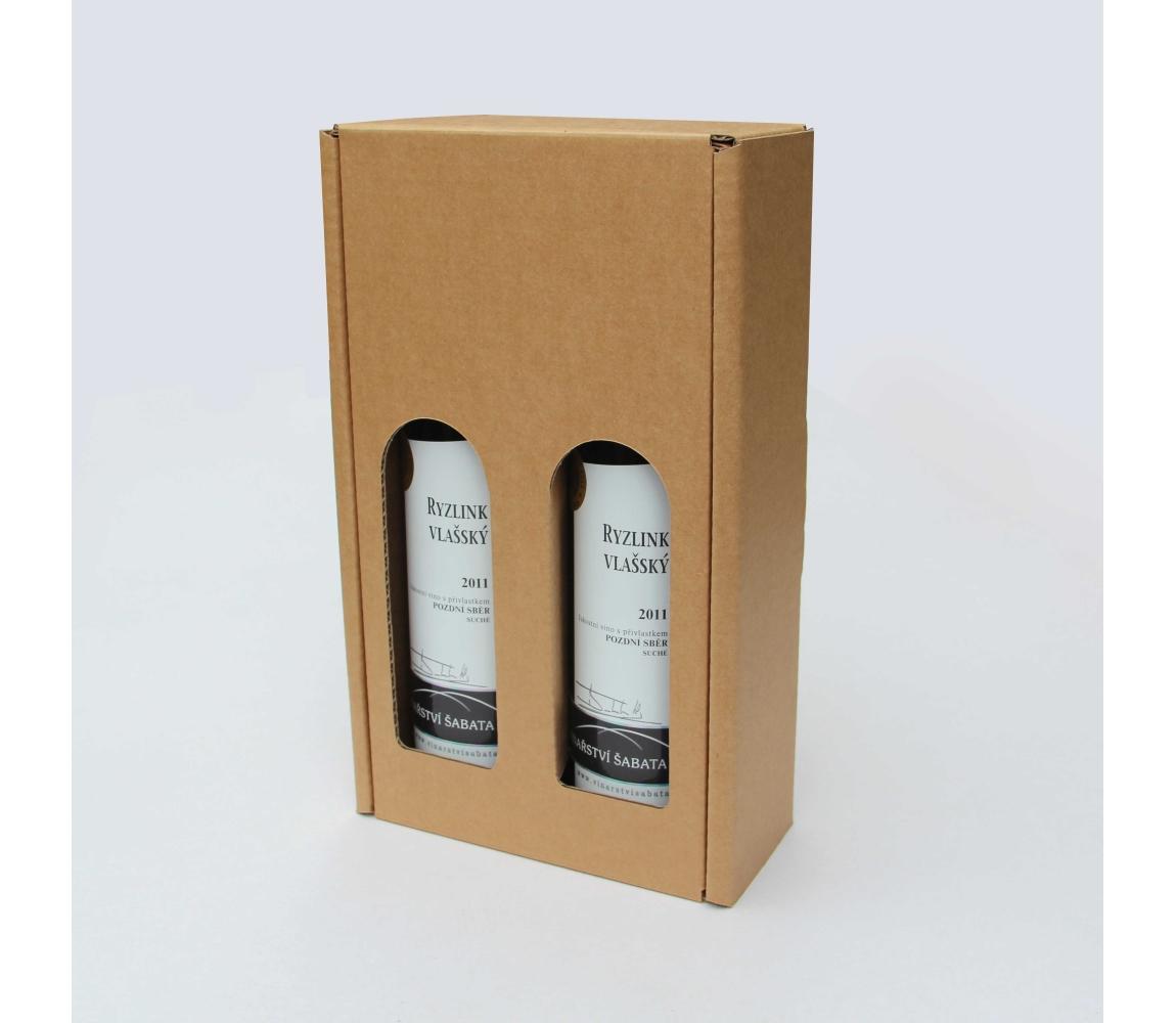 Dárková krabice na víno 164x315x80 mm, 2 x 0,75l, hnědá-kraft