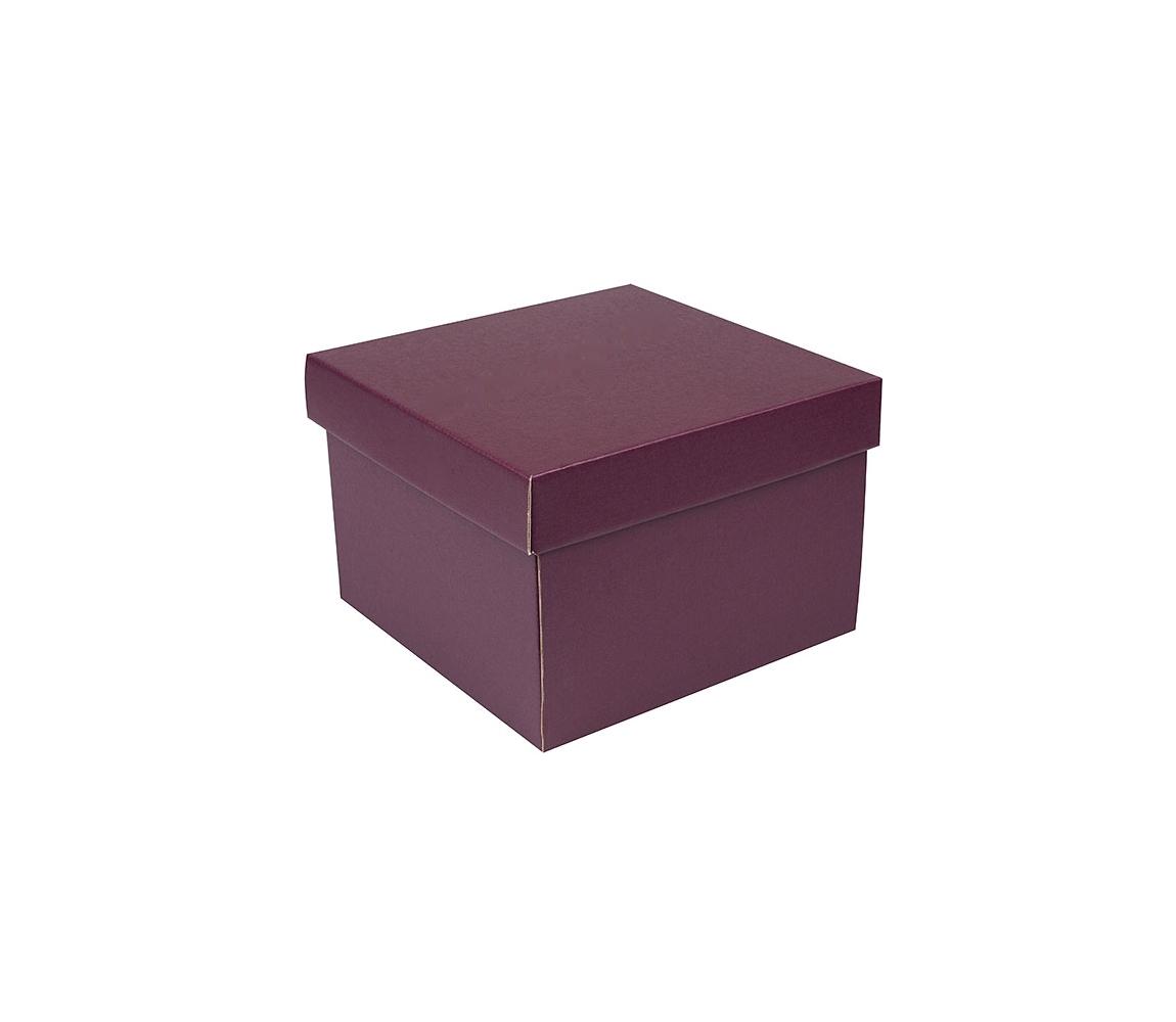 G.N.P. Dárková krabička s víkem 200x200x140/35 mm, vínová matná