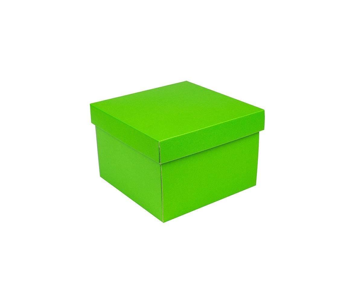 G.N.P. Dárková krabička s víkem 200x200x140/35 mm, zelená matná