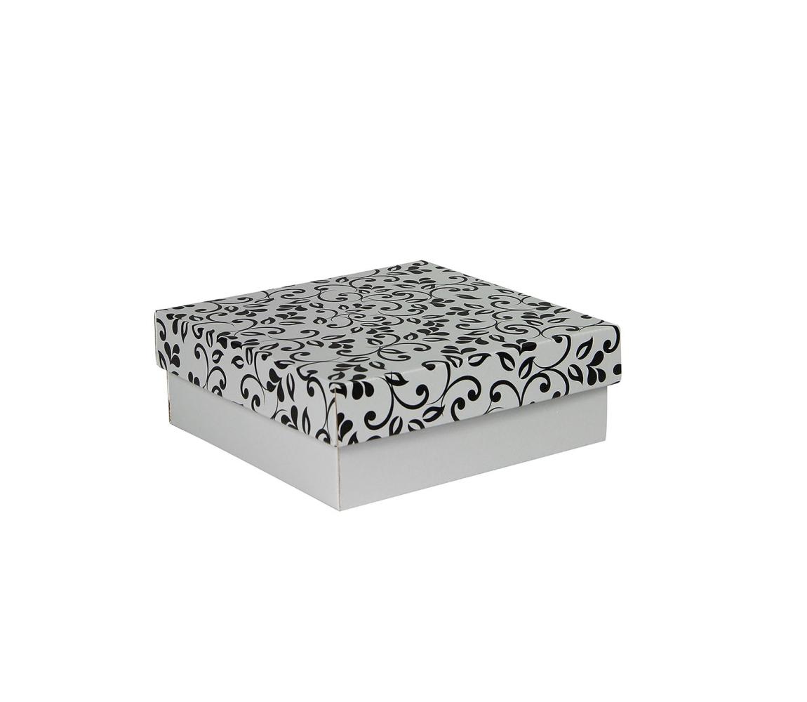 G.N.P. Dárková krabička s víkem 200x200x70/35 mm, šedá se vzorem lístky, černé