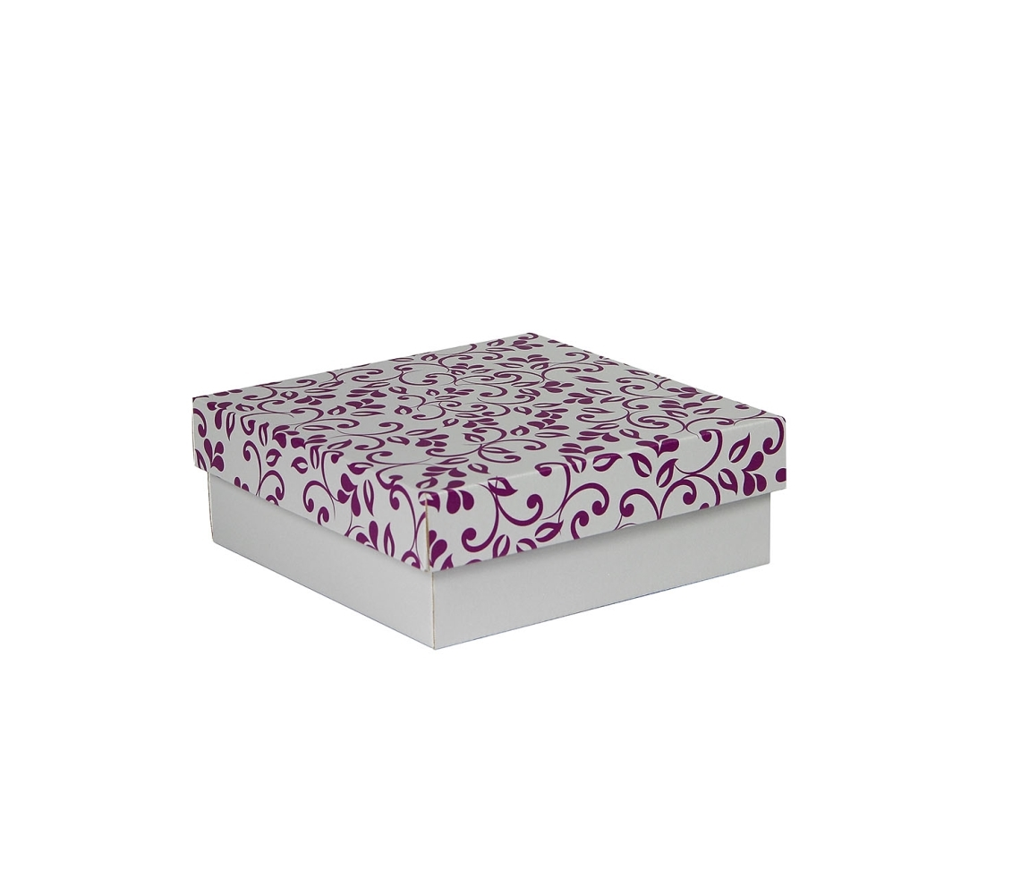 G.N.P. Dárková krabička s víkem 200x200x70/35 mm, šedá se vzorem lístky, fialové
