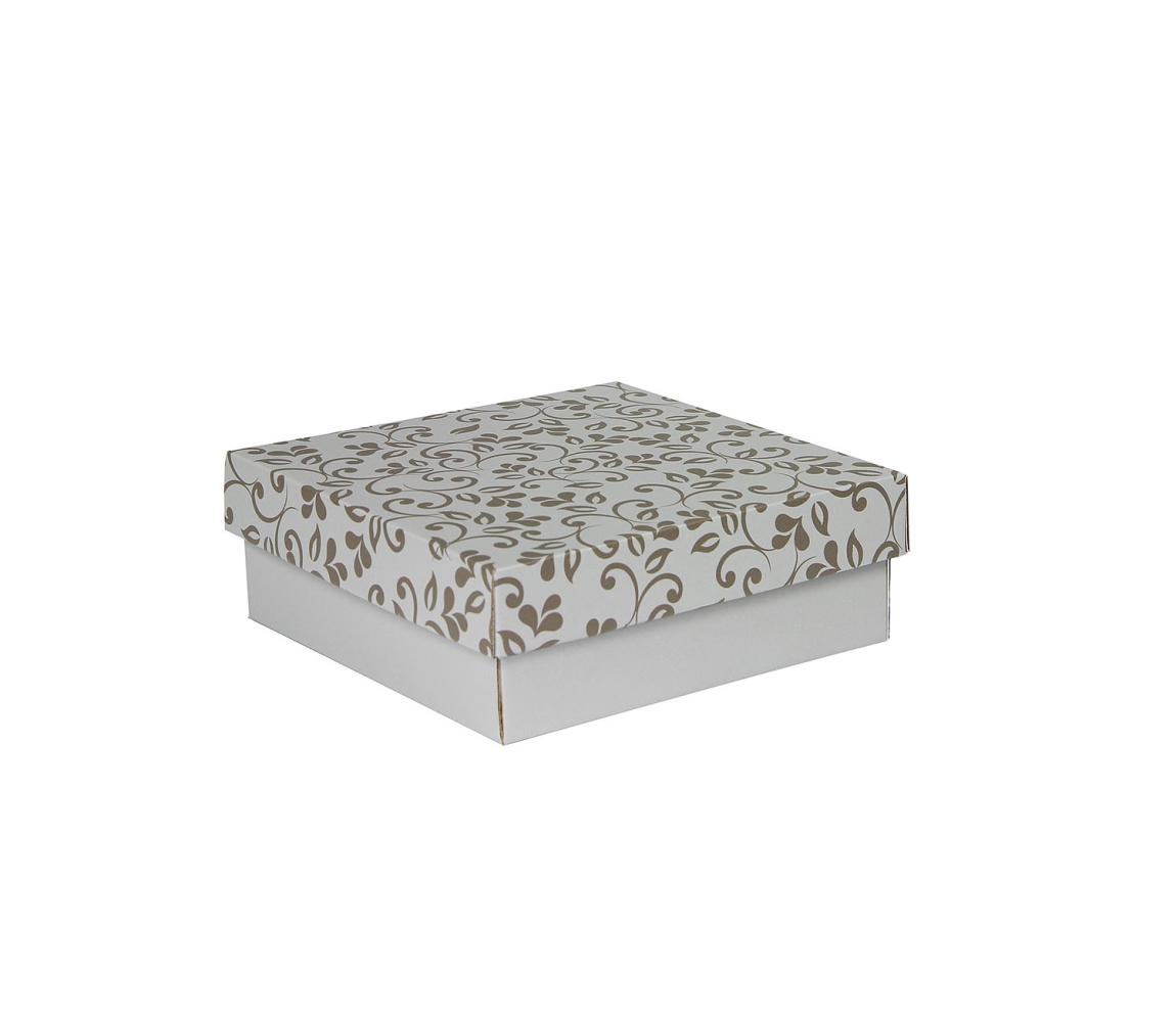 G.N.P. Dárková krabička s víkem 200x200x70/35 mm, šedá se vzorem lístky, hnědé