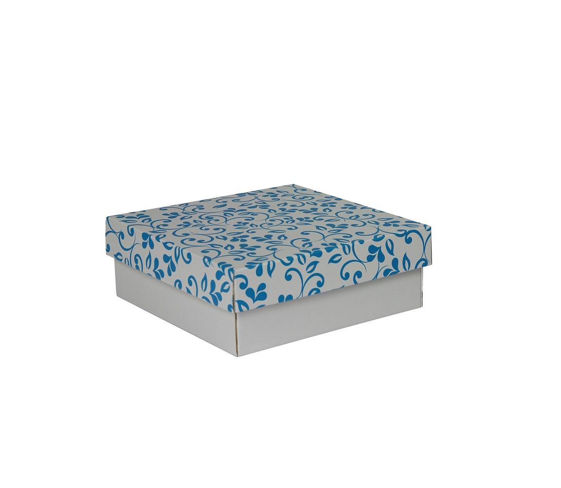 G.N.P. Dárková krabička s víkem 200x200x70/35 mm, šedá se vzorem lístky, modré