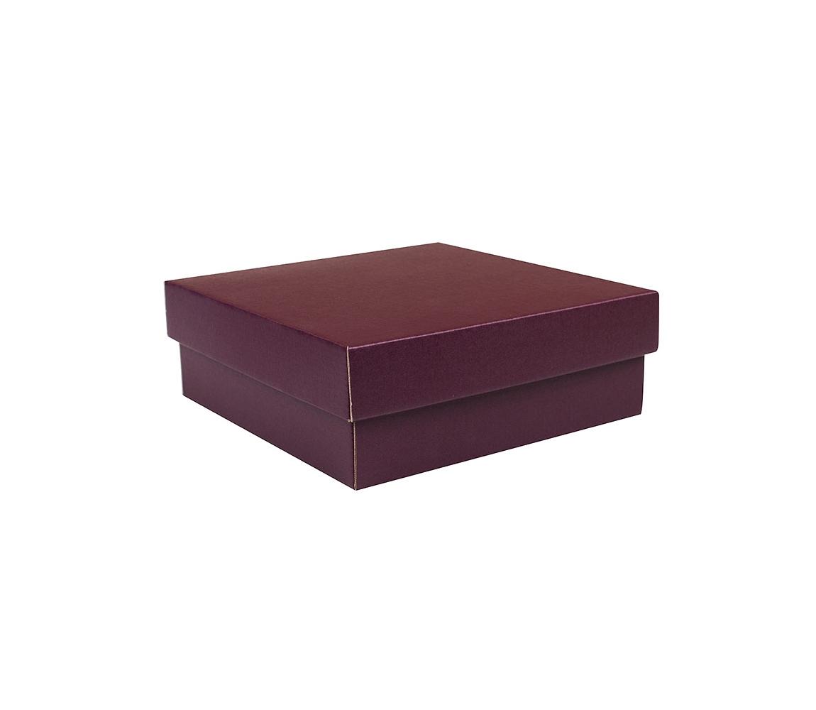 G.N.P. Dárková krabička s víkem 200x200x70/35 mm, vínová matná
