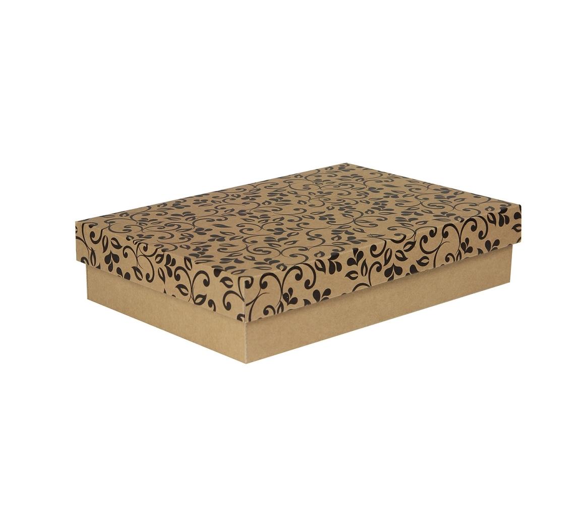 G.N.P. Dárková krabička s víkem 330x220x70/35 mm, hnědá se vzorem lístky, černé