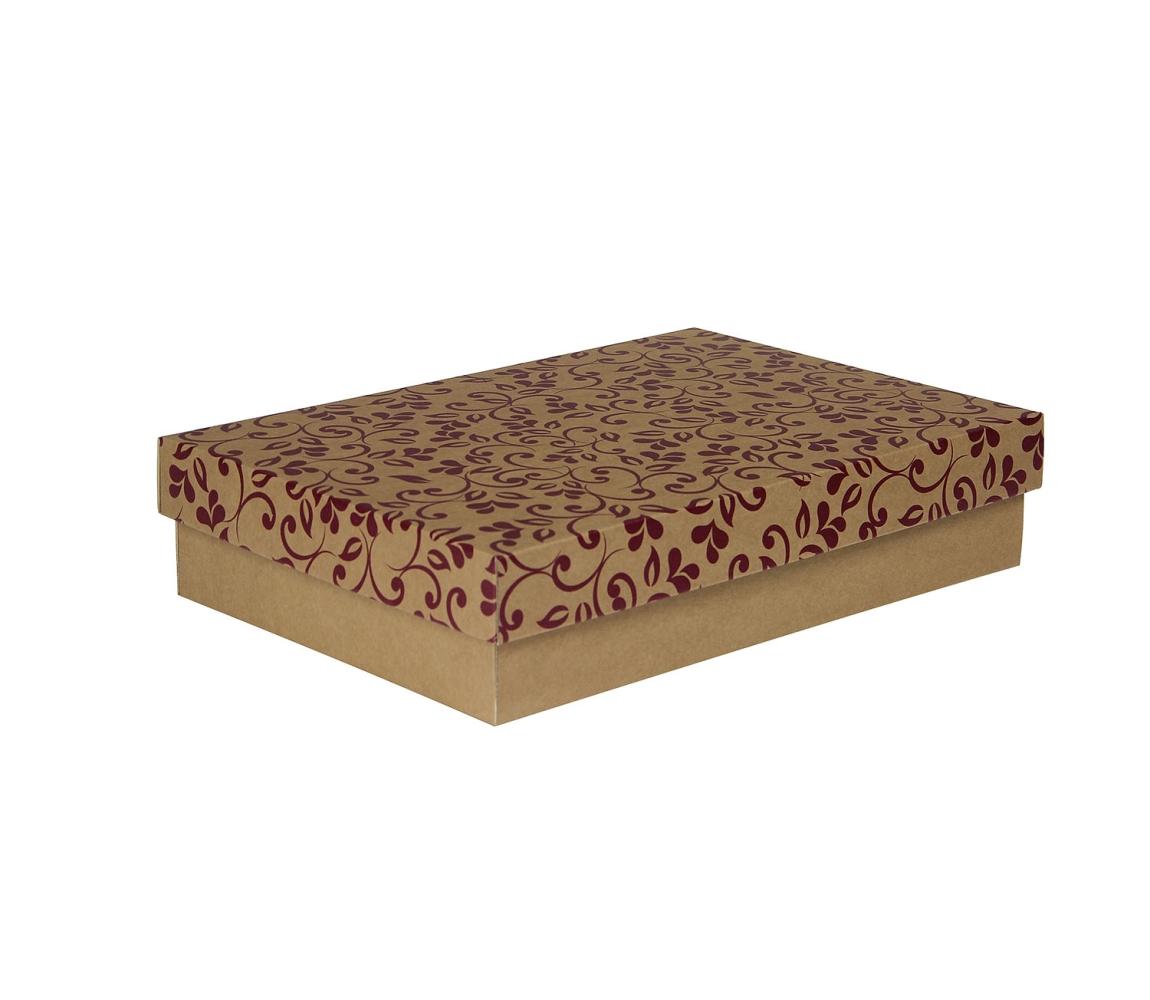 G.N.P. Dárková krabička s víkem 330x220x70/35 mm, hnědá se vzorem lístky, fialové