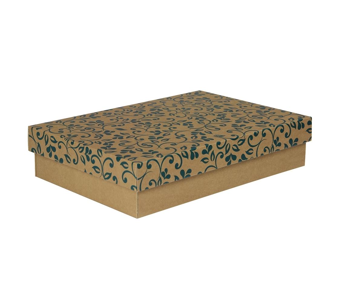 G.N.P. Dárková krabička s víkem 330x220x70/35 mm, hnědá se vzorem lístky, modré