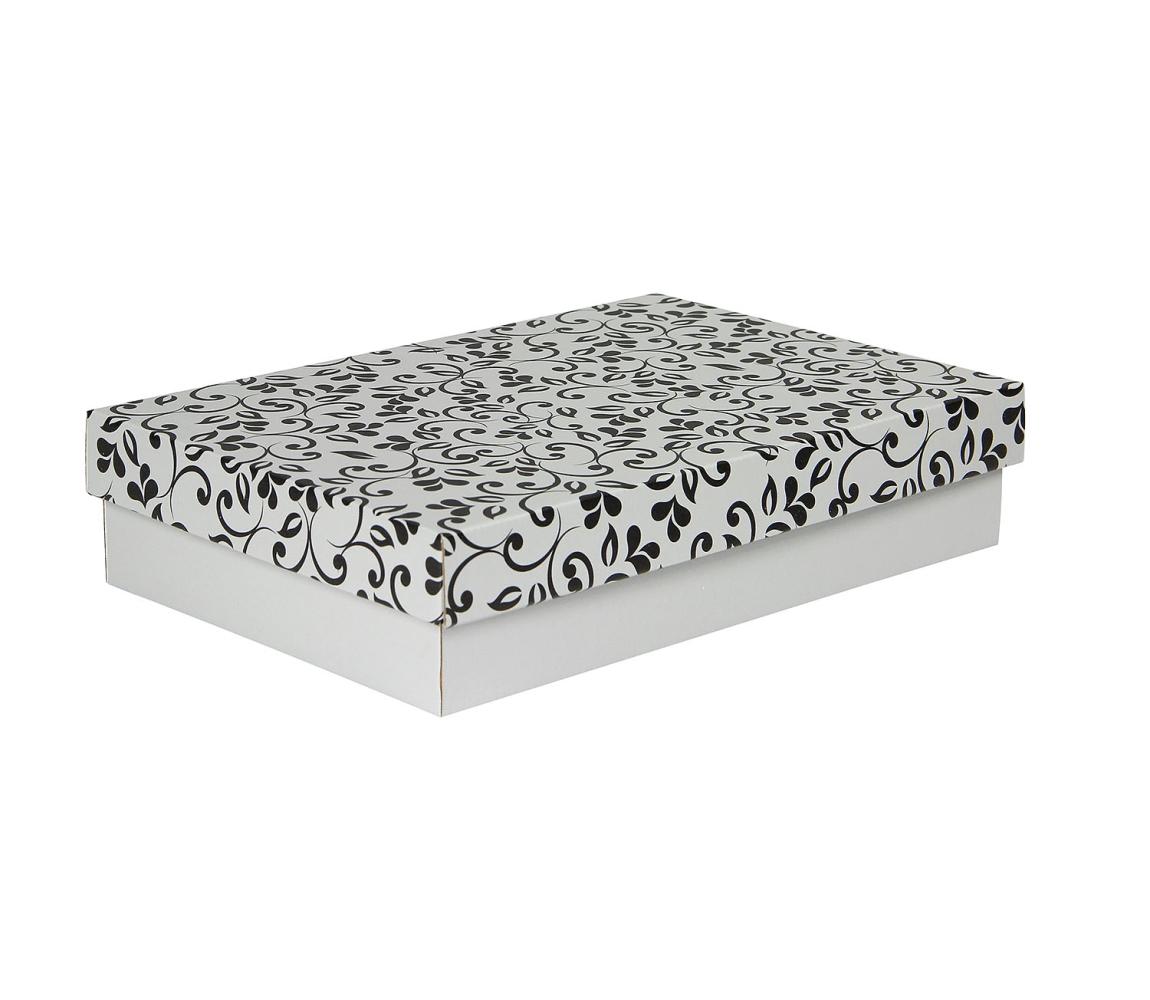G.N.P. Dárková krabička s víkem 330x220x70/35 mm, šedá se vzorem lístky, černé