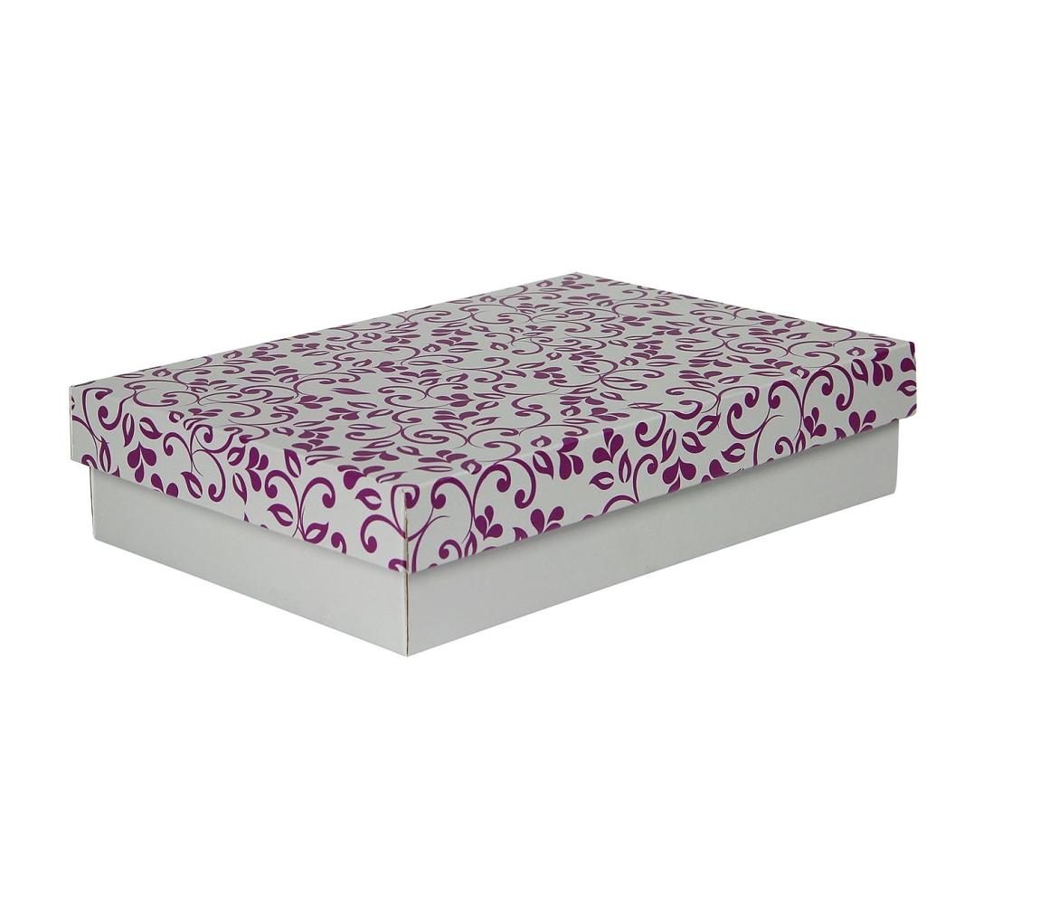 G.N.P. Dárková krabička s víkem 330x220x70/35 mm, šedá se vzorem lístky, fialové