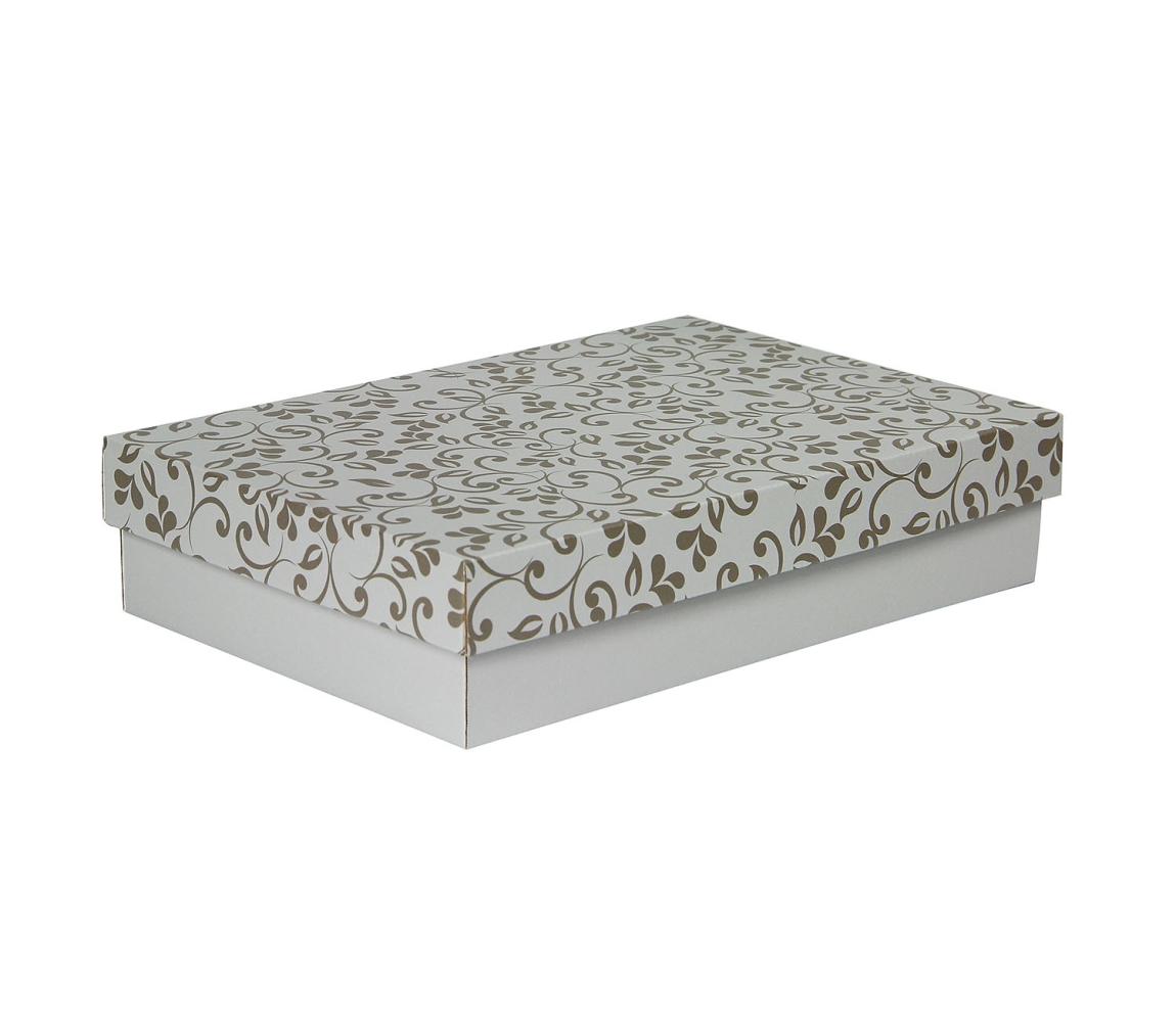G.N.P. Dárková krabička s víkem 330x220x70/35 mm, šedá se vzorem lístky, hnědé