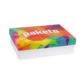 Dárková krabice 350x250x100/40 mm, celopotisk víka, bílá