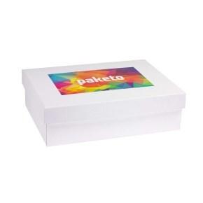 Dárková krabice 350x250x100/40 mm, tisk na víko 250x150 mm, bílá