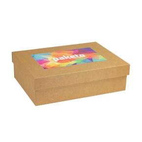 Dárková krabice 350x250x100/40 mm, tisk na víko 250x150 mm, kraftová