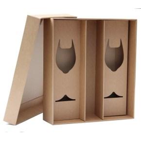 Dárková krabice 360x330x95 mm, na láhev vína a skleničky, dno + víko, hnědá