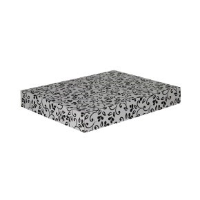 Dárková krabice na košile 380x285x50/50 mm, šedá se vzorem na víku, černé lístky