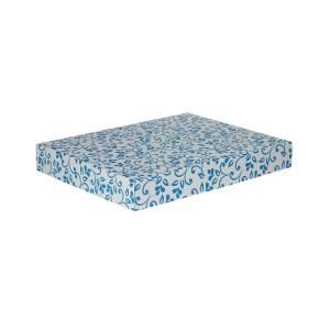 Dárková krabice na košile 380x285x50/50 mm, šedá se vzorem na víku, modré lístky