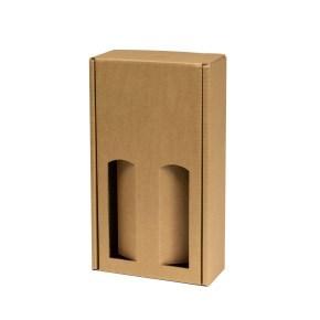 Dárková krabice na víno 175x350x85 mm, 2 x 0,75 l, hnědá - kraft