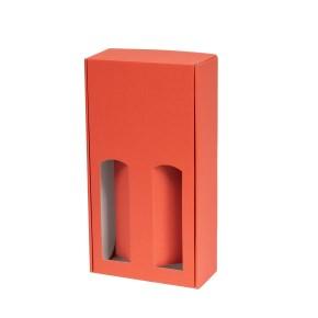 Dárková krabice na víno 175x350x85 mm, 2 x 0,75 l, korálová