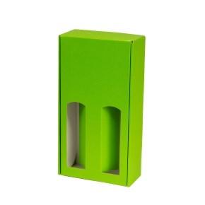 Dárková krabice na víno 175x350x85 mm, 2 x 0,75 l, zelená