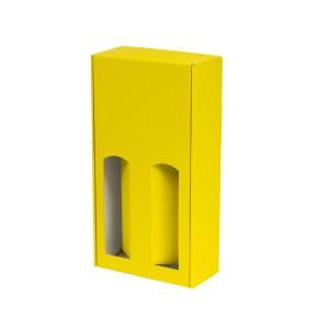 Dárková krabice na víno 175x350x85 mm, 2 x 0,75 l, žlutá