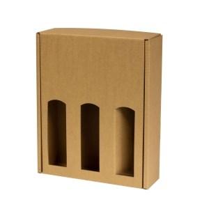 Dárková krabice na víno 265x350x85 mm, 3 x 0,75 l, hnědá - kraft