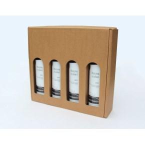Dárková krabice na víno 328x315x80 mm, 4 x 0,75l, hnědá-kraft