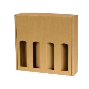 Dárková krabice na víno 355x350x85 mm, 4 x 0,75 l, hnědá - kraft