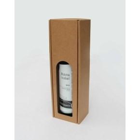 Dárková krabice na víno 80x315x80 mm, 1 x 0,75l, hnědá-kraft