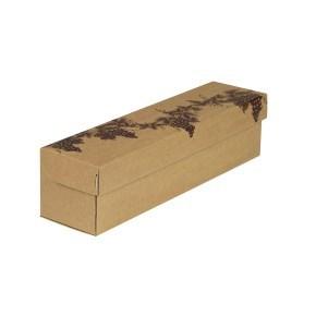 """Dárková krabice na víno hnědý kraft, vzor """"Réva"""", 335x85x83 mm"""