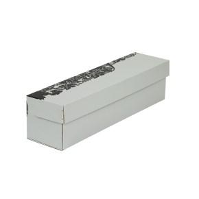 """Dárková krabice na víno šedá, vzor """"hrozny-láhev"""", 335x85x83 mm"""