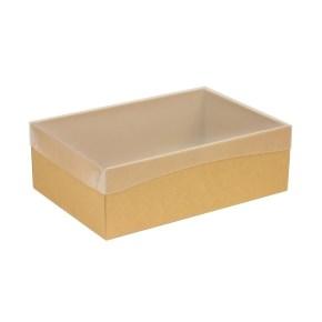 Dárková krabice s průhledným víkem 300x200x100/40 mm, hnědá - kraftová