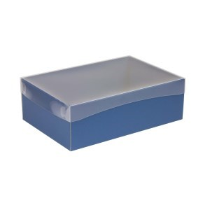 Dárková krabice s průhledným víkem 300x200x100/40 mm, modrá