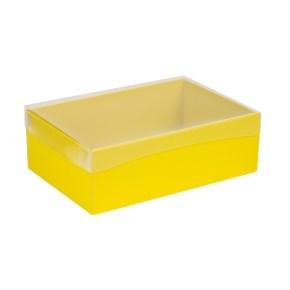 Dárková krabice s průhledným víkem 300x200x100/40 mm, žlutá