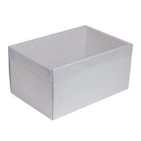 Dárková krabice s průhledným víkem 300x200x150/35 mm, bílá