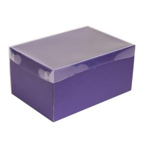 Dárková krabice s průhledným víkem 300x200x150/35 mm, fialová