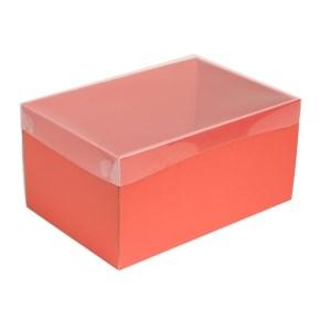 Dárková krabice s průhledným víkem 300x200x150/35 mm, korálová