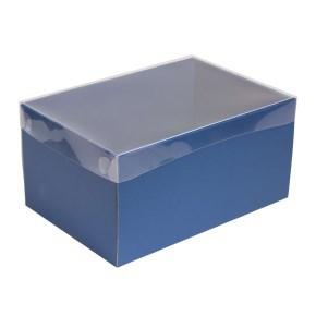 Dárková krabice s průhledným víkem 300x200x150/35 mm, modrá