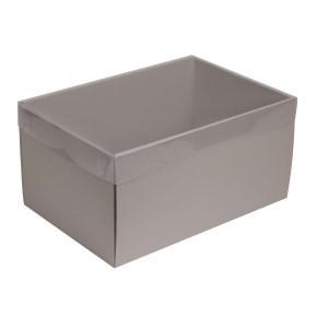 Dárková krabice s průhledným víkem 300x200x150/35 mm, šedá