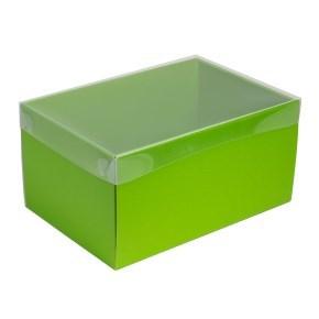 Dárková krabice s průhledným víkem 300x200x150/35 mm, zelená