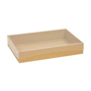 Dárková krabice s průhledným víkem 300x200x50/40 mm, hnědá - kraftová