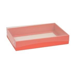 Dárková krabice s průhledným víkem 300x200x50/40 mm, korálová