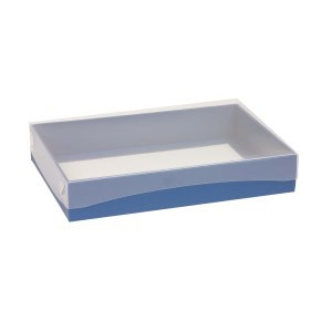 Dárková krabice s průhledným víkem 300x200x50/40 mm, modrá