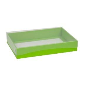 Dárková krabice s průhledným víkem 300x200x50/40 mm, zelená