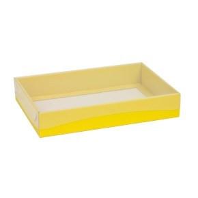 Dárková krabice s průhledným víkem 300x200x50/40 mm, žlutá
