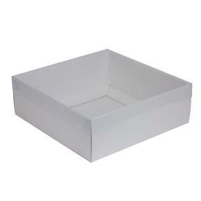 Dárková krabice s průhledným víkem 300x300x100/35 mm, bílá
