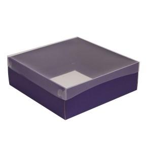 Dárková krabice s průhledným víkem 300x300x100/35 mm, fialová