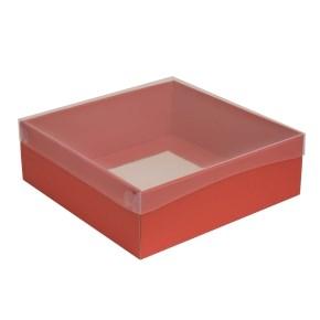 Dárková krabice s průhledným víkem 300x300x100/35 mm, korálová