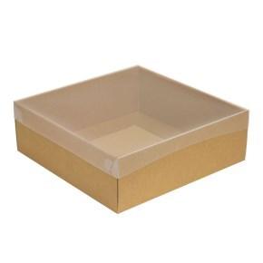 Dárková krabice s průhledným víkem 300x300x100/35 mm, kraftová - hnědá