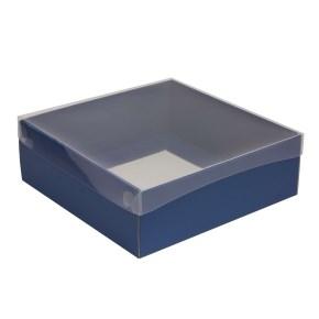 Dárková krabice s průhledným víkem 300x300x100/35 mm, modrá