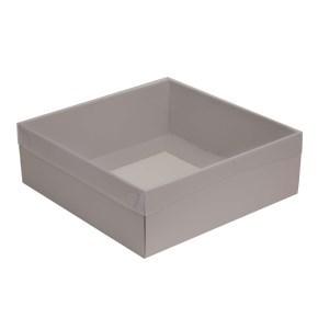 Dárková krabice s průhledným víkem 300x300x100/35 mm, šedá